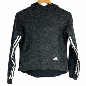 Adidas Charcoal Grey Heathered Cropped Logo Hoodie